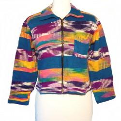 Gilet ethnique en coton bleu, violet et jaune