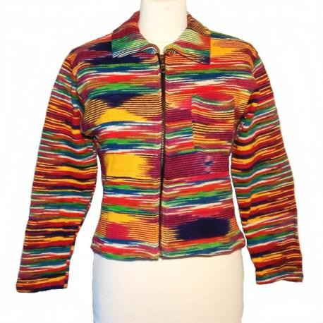 Gilet zippé en coton violet, jaune et rouge