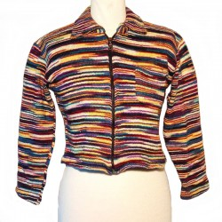 Gilet zippé en coton violet, crème et jaune