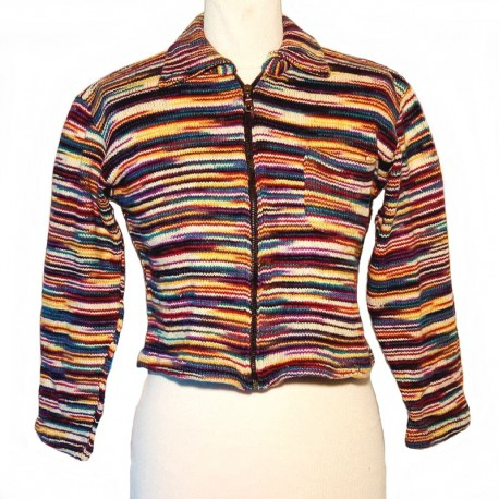 Ethnic vest in purple, cream and yellow blue cotton