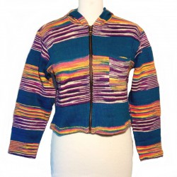 Hooded jacket in blue, purple and yellow cotton
