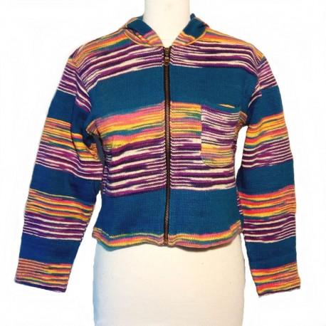 Gilet capuche en coton bleu, violet et jaune