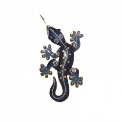 Gecko mural en métal L17 cm - Bleu