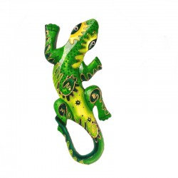 Wall decor gecko painted wood H29 cm - Yellow and green