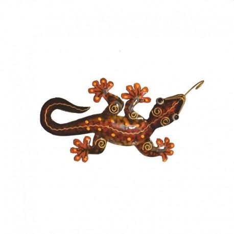 Gecko mural en métal L17 cm - Marron