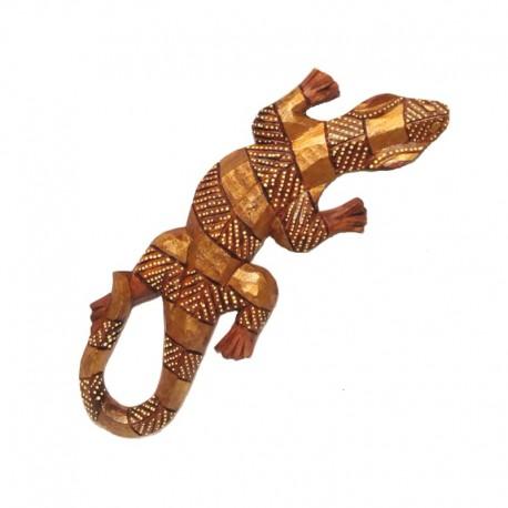 Gecko en bois clair peint H25 cm