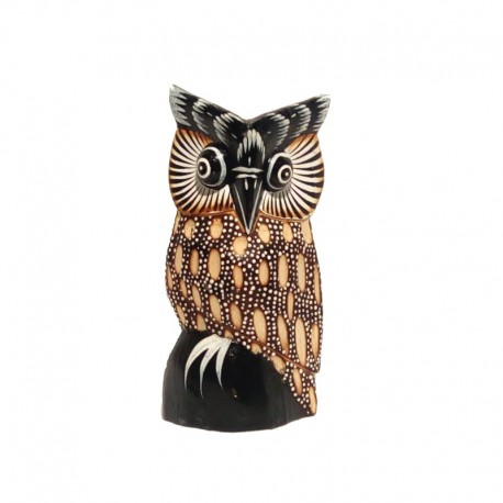 Owl H 15 cm carved painted wood