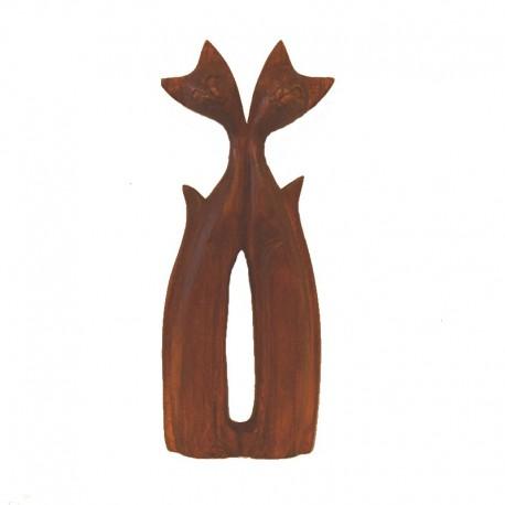 Statue 2 chats sculptée en bois de Suar