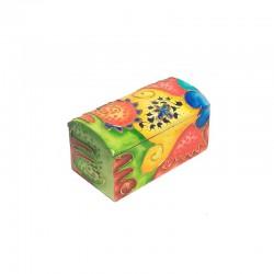 Boite en bois peint multicolore