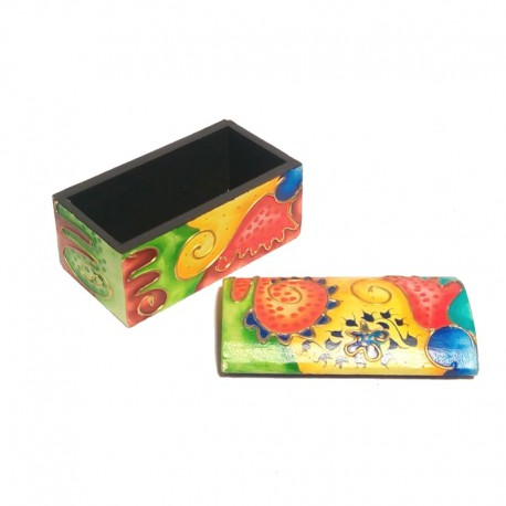 Wooden box multicolored - open