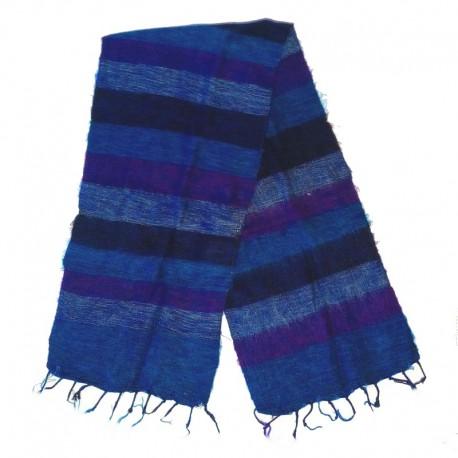 Striped wool scarf Yak 150x30 cm - Model 42