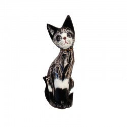 Statue Cat H25 cm in black and white tabby wood