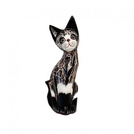 Statue Chat H25 cm bois tigré noir et blanc