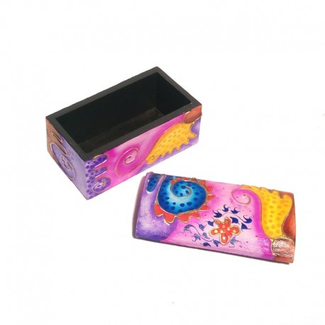 Ethnic wooden box - open