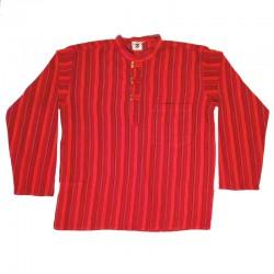 Chemise en coton rayé S rouge et bordeaux