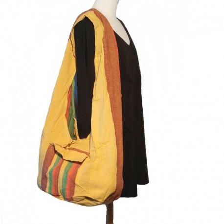 Cotton shoulder bag orange, green, yellow and brown
