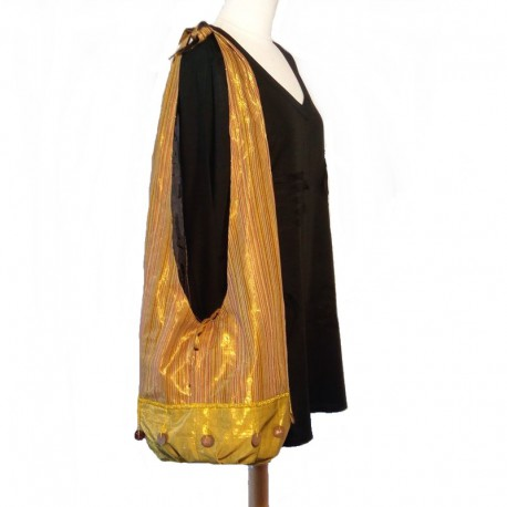 Yellow and golden cotton shoulder bag