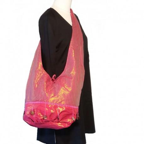 Pink and purple cotton shoulder bag