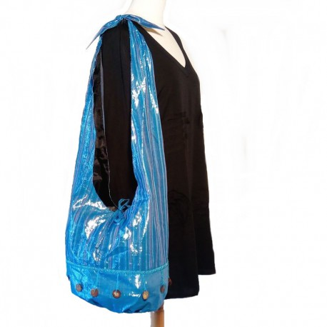 Blue and parma cotton shoulder bag