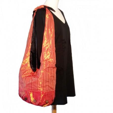 Red and orange cotton shoulder bag
