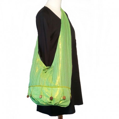 Sac bandoulière en coton vert clair reflet doré