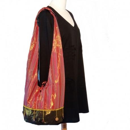 Maroon and golden cotton shoulder bag