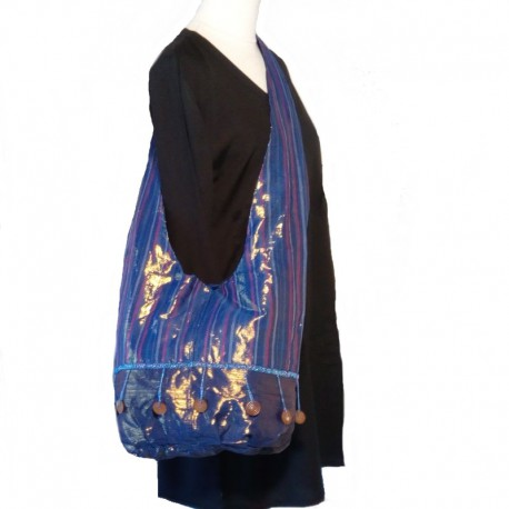 Blue night cotton shoulder bag