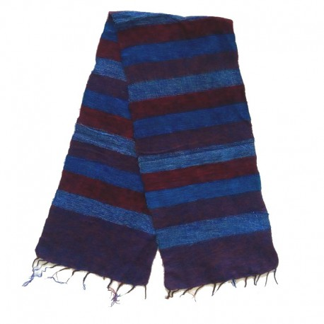 Striped wool scarf Yak 150x30 cm - Model 45
