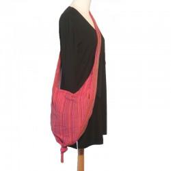Sac bandoulière pointe en coton rouge et rose