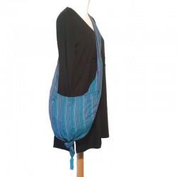 Sac bandoulière pointe en coton bleu
