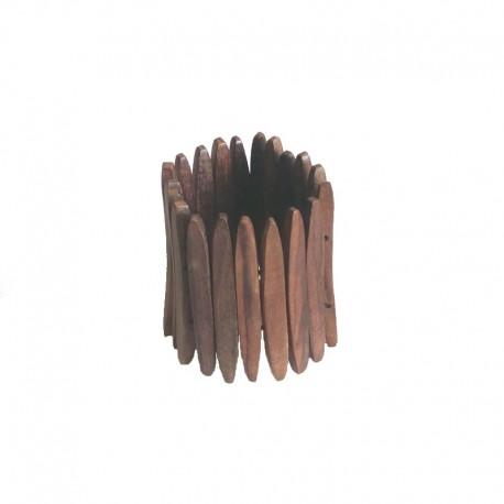 Bracelet lamelles de bois d'Ebène Larg 7cm - modèle 01