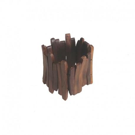 Bracelet lamelles de bois d'Ebène Larg 7cm - modèle 02