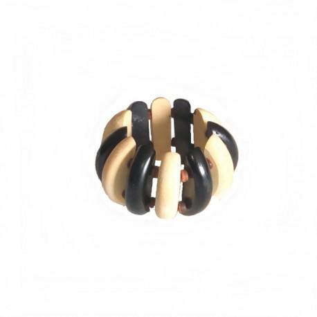 Bracelet bois Bali Larg 5cm - Blanc et noir