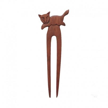 Double Hair stick cat lying wood Ebony