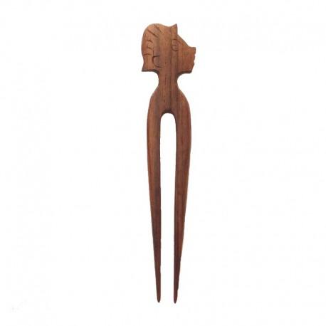 Pic cheveux tête en bois d'Ebène