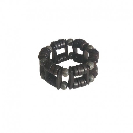 Beads of wood bracelet 3,5 cm - Black and gray
