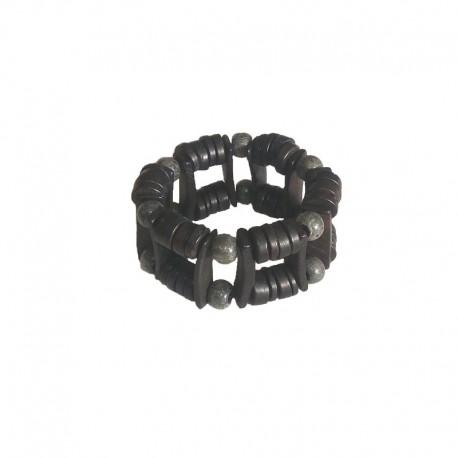 Bracelet 3,5 cm perles bois - Noir et gris