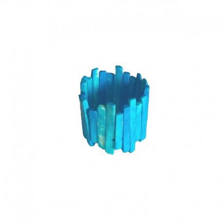Bracelet lamelles en résine Larg 6cm - Bleu