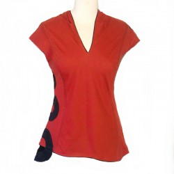 Top Hooded Cotton - Red and black circle