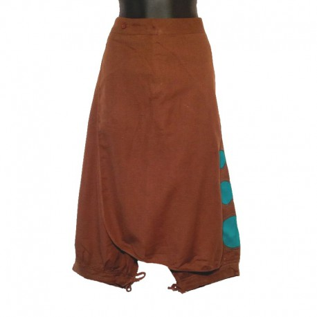 Short cotton saroual - Brown and turquoise