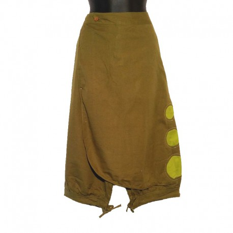 Short cotton saroual - Green and light green