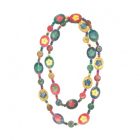 Necklace wooden colored beads - Mod01 - flowers