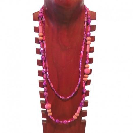 Collier double bois et métal peint - Rose et violet