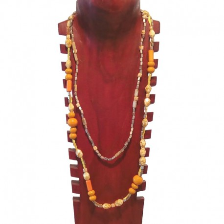 Painted wood and metal beads necklace - Orange and cream colored