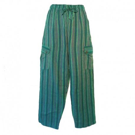 Pantalon rayé coton Népal - Taille S - Vert