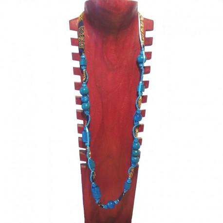 Collier perles bois, rocailles et tissu - Bleu