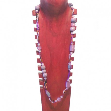 Necklace wood beads, seed beads and fabric - Purple