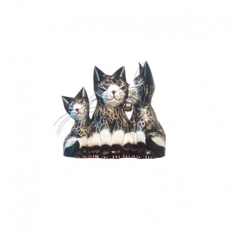 Statue 3 chats H15 cm bois noir et blanc