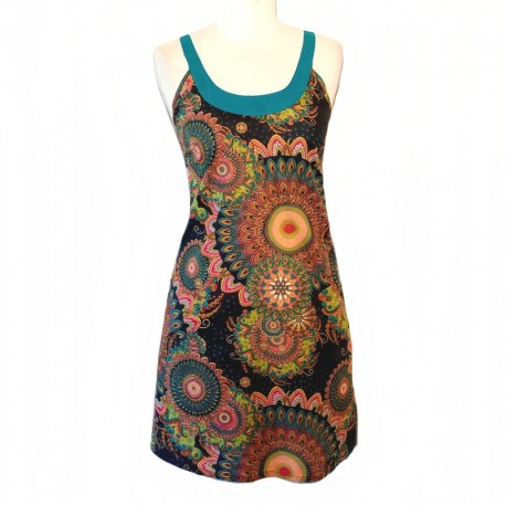 Short cotton dress with straps - L - Blue neckline and straps - Model 01