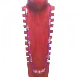 Collier perles fantaisie, tissu et perles métal - Différentes couleurs